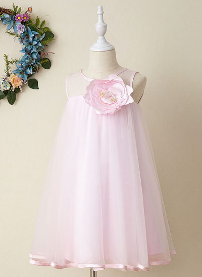 Áčkové Šaty Po kolena Flower Girl Dress - Tyl Bez rukávů Scoop Neck