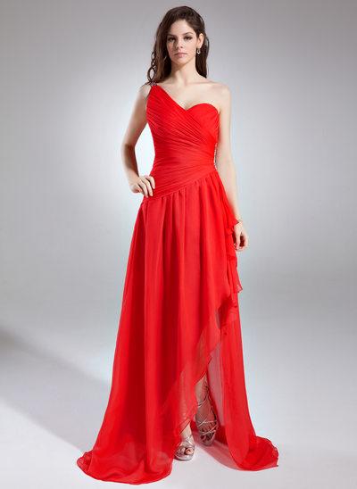 A-Line/Princess One-Shoulder Asymmetrical Chiffon Prom Dress With Ruffle Beading Cascading Ruffles