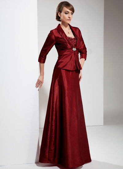 A-Line/Princess Sweetheart Floor-Length Taffeta Mother of the Bride Dress With Ruffle Lace Beading