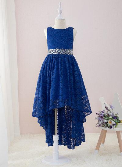 Corte A Assimétrico Vestidos de Menina das Flores - Renda Sem magas Decote redondo com Beading