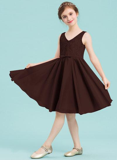 Corte A Decote V Coquetel Tecido de seda Vestido de daminha júnior com Curvado