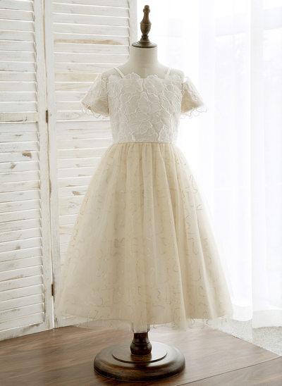 Forme Princesse Longueur mollet Robes à Fleurs pour Filles - Tulle/Dentelle Manches courtes Hors-la-épaule