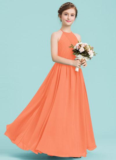 Vestidos princesa/ Formato A Decote redondo Longos Tecido de seda Vestido de daminha júnior com Pregueado