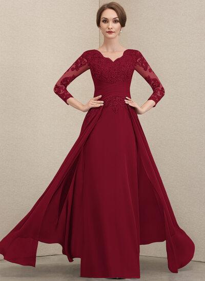 A-Linie V-Ausschnitt Bodenlang Chiffon Spitze Kleid für die Brautmutter mit Rüschen