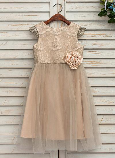 Forme Princesse Longueur mollet Robes à Fleurs pour Filles - Satiné/Tulle/Dentelle Sans manches Col rond avec Fleur(s)
