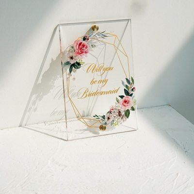 Bridesmaid Gifts - Delicate Acrylic Wedding Day Card