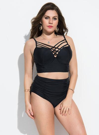Elegant Einfarbig Elasthan Nylon Bikinis Badeanzug