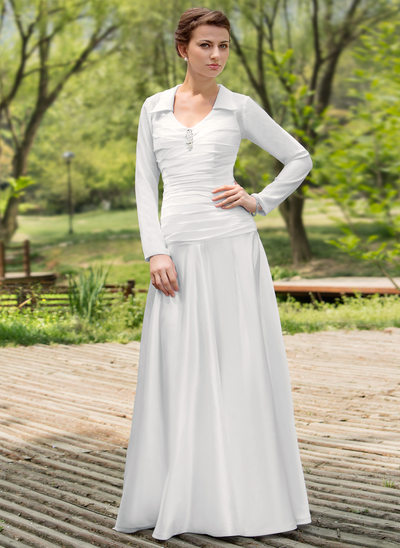 A-Line/Princess Scoop Neck Floor-Length Chiffon Charmeuse Wedding Dress With Ruffle Beading