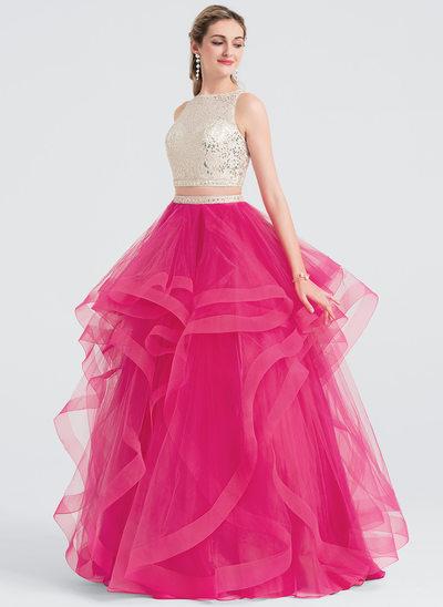 Balo Elbisesi Yuvarlak Yaka Uzun Etekli Tül Mezuniyet Elbisesi Ile boncuklu kısım