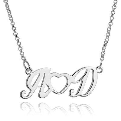 Personalisiert Sterling Silber Einfach Zwei Anfangshalskette mit Herz - Geburtstagsgeschenke Muttertagsgeschenke