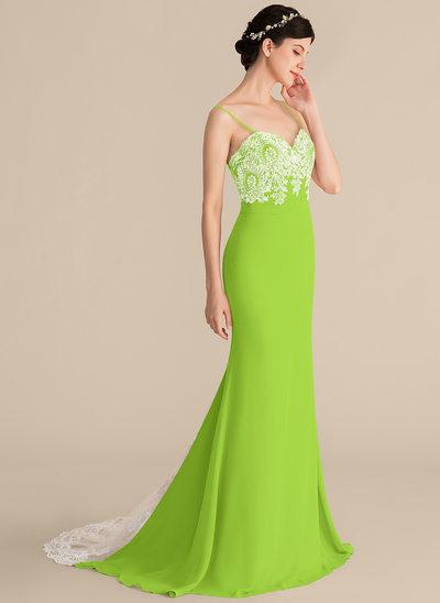 Trumpet/Mermaid Sweetheart Sweep Train Chiffon Lace Prom Dresses
