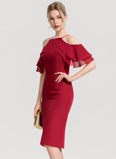 Sheath/Column Square Neckline Knee-Length Chiffon Cocktail Dress With Cascading Ruffles
