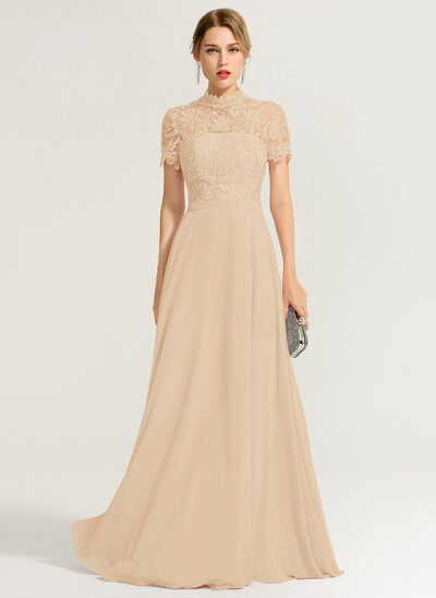 Corte A Gola alta Longos Tecido de seda Vestido de baile