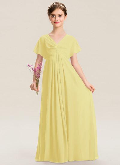 Império Decote V Longos Tecido de seda Vestido de daminha júnior com Pregueado