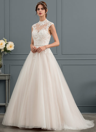 Duchesse-Linie High Neck Sweep/Pinsel zug Tüll Brautkleid mit Pailletten