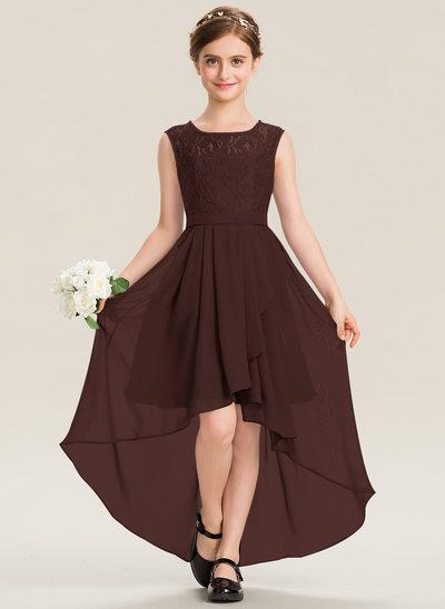 Corte A Decote redondo Assimétrico Tecido de seda Renda Vestido de daminha júnior com Curvado Babados em cascata
