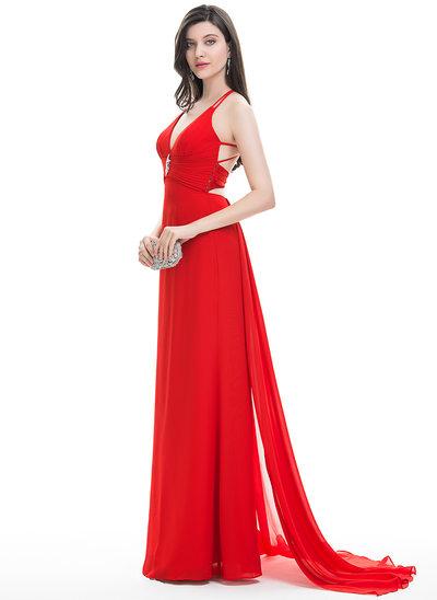 A-Line/Princess V-neck Sweep Train Chiffon Prom Dress With Beading Cascading Ruffles