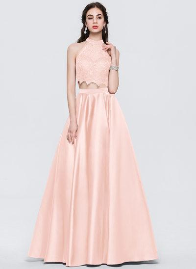Balo Elbisesi Yuvarlak Yaka Uzun Etekli Saten Mezuniyet Elbisesi