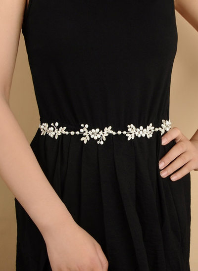 Elegant Satin Sash With Alloy/Imitation Pearls
