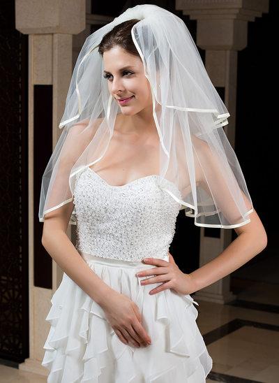 Zweischichtig Ellenbogen Braut Schleier mit Band Rand