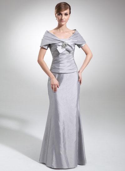 Trompete/Meerjungfrau-Linie Trägerlos Bodenlang Taft Kleid für die Brautmutter mit Rüschen