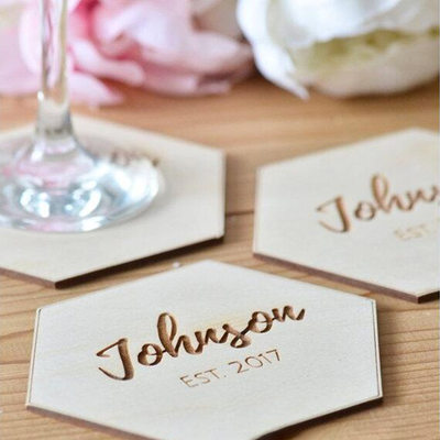 Groom Gifts - Personalized Solid Color Wooden Coaster