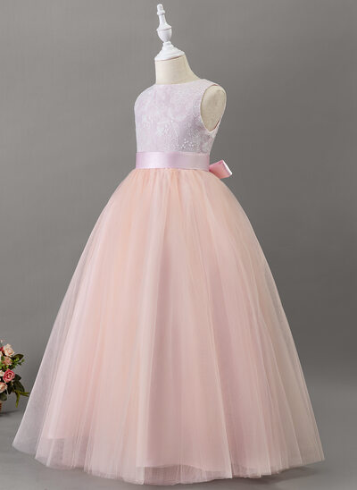 Ball-Gown/Princess Floor-length Flower Girl Dress - Satin/Tulle/Lace Sleeveless Scoop Neck