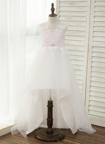 A-Line/Princess Asymmetrical Flower Girl Dress - Satin/Tulle Sleeveless Scoop Neck With Rhinestone