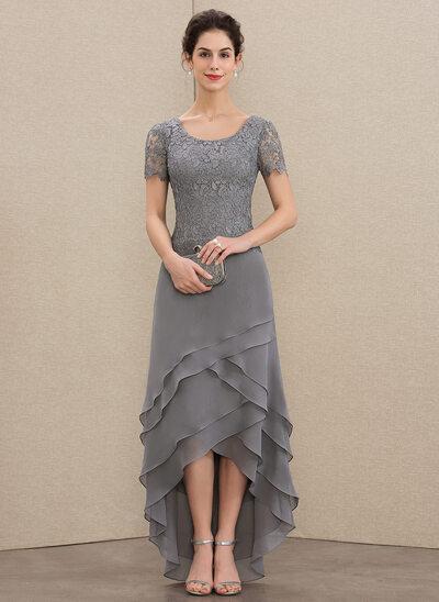 A-Linie U-Ausschnitt Asymmetrisch Chiffon Spitze Kleid für die Brautmutter mit Gestufte Rüschen
