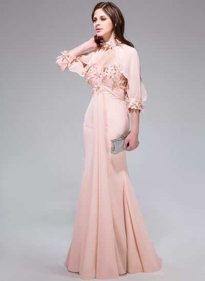 Trumpet/Mermaid Sweetheart Floor-Length Chiffon Prom Dress With Ruffle Lace Flower(s)