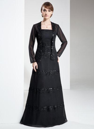 Çan/Prenses Askısız Uzun Etekli Chiffon Gelin Annesi Elbisesi Ile Lace Boncuklama Pullarda