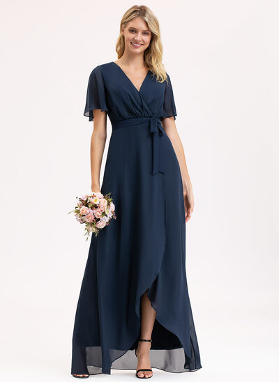 A-Line V-neck Asymmetrical Chiffon Bridesmaid Dress With Bow(s)