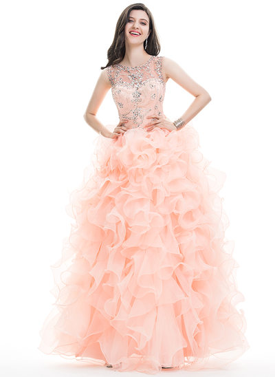 Ball-Gown Scoop Neck Floor-Length Organza Prom Dress With Beading Sequins