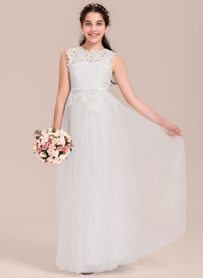 A-Line/Princess Scoop Neck Floor-Length Tulle Junior Bridesmaid Dress With Bow(s)