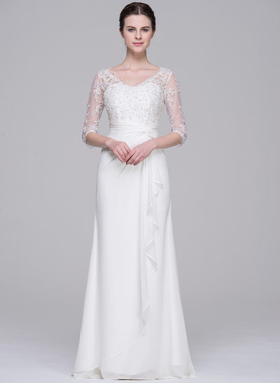 Sheath/Column V-neck Floor-Length Chiffon Wedding Dress With Beading Sequins Cascading Ruffles