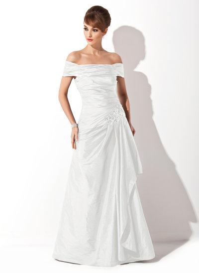 A-formet/Prinsesse Off-the-Shoulder Sweep/Børste train Taft Kjole til brudens mor med Frynse Applikasjoner Blonder paljetter