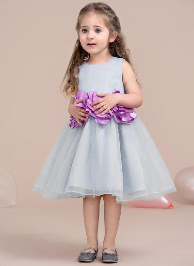 Çan/Prenses Diz Hizası Çiçek Kız Elbise - Tül Yuvarlak Yaka Ile Çiçek(ler)