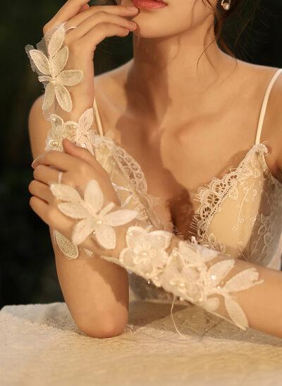 Tyll/Blonder Elbow Lengde Brude Hansker med Blomst/Imitert Perle