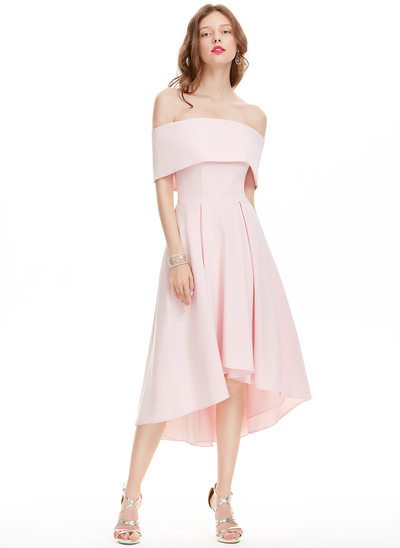 A-Line/Princess Off-the-Shoulder Asymmetrical Satin Prom Dress