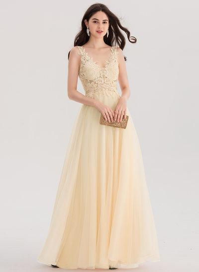 Vestidos princesa/ Formato A Decote V Longos Tule Vestido de baile