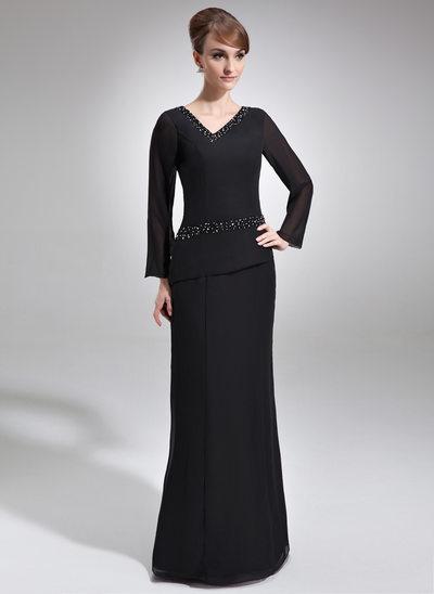 Sheath/Column V-neck Floor-Length Chiffon Mother of the Bride Dress With Beading