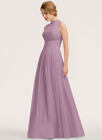 A-Line High Neck Floor-Length Chiffon Lace Bridesmaid Dress With Ruffle