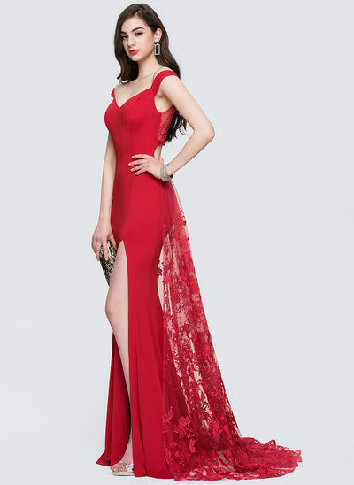Sheath/Column Off-the-Shoulder Sweep Train Lace Prom Dresses With Split Front