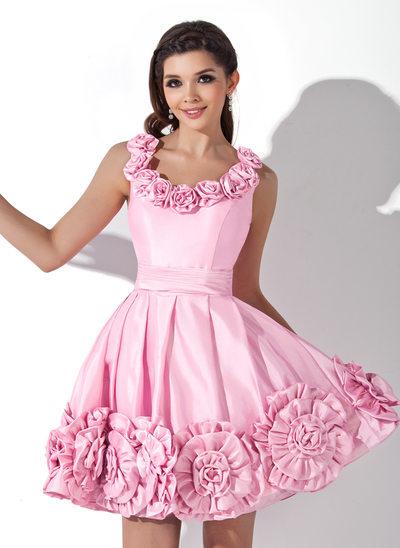 Vestidos princesa/ Formato A Decote redondo Curto/Mini Tafetá Vestido de boas vindas com fecho de correr