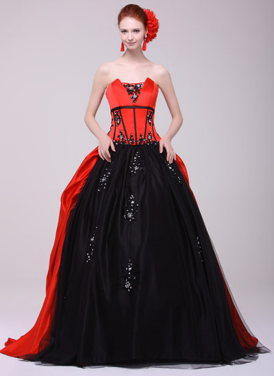 Ball-Gown Scalloped Neck Sweep Train Charmeuse Prom Dress With Beading Appliques Lace