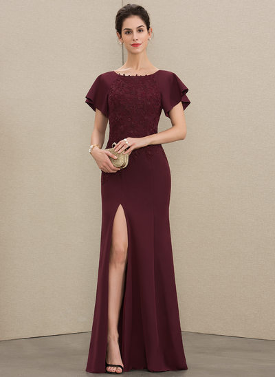 Sheath/Column Scoop Neck Floor-Length Lace Stretch Crepe Mother of the Bride Dress With Split Front
