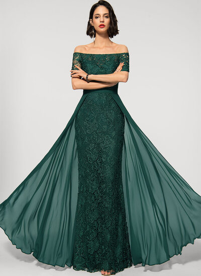 Sheath/Column Off-the-Shoulder Detachable Chiffon Lace Evening Dress