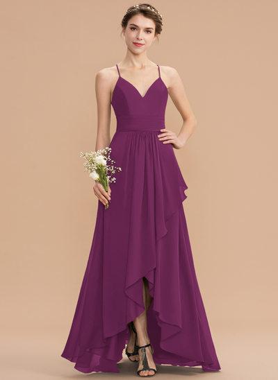 A-Line V-neck Asymmetrical Chiffon Lace Bridesmaid Dress With Cascading Ruffles
