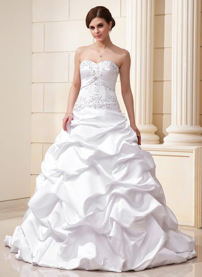 Ball-Gown Sweetheart Court Train Satin Wedding Dress With Ruffle Beading Appliques Lace Sequins