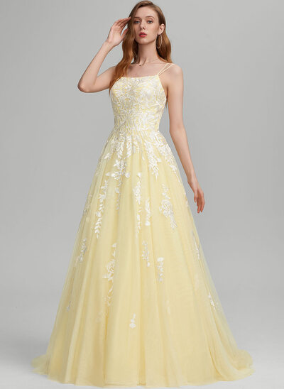 Robe Marquise/Princess Encolure carrée Balayage/Pinceau train Tulle Robe bal d'étudiant
